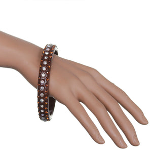 Brown Triple Row Rhinestone Bangle Bracelet