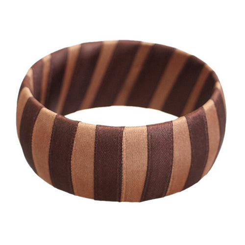 Brown Two Tone Wrapped Bangle Bracelet