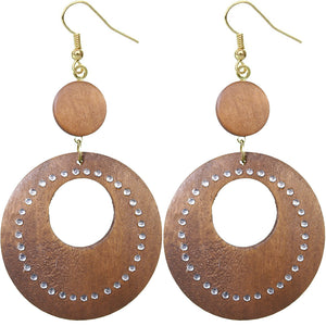 Brown Wooden Gemstone Drop Hoop Earrings