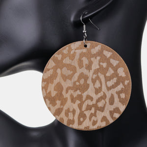 Brown Cheetah Print Wooden Earrings