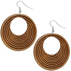 Brown Wooden Circular Roll Texture Dangle Earrings