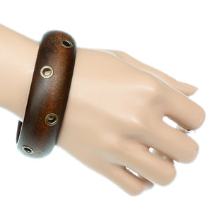 Brown Wooden Cutout Bangle Bracelet