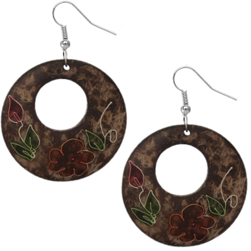 Brown Coconut Hand Painted Floral Earrings