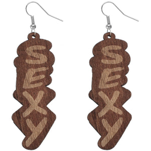 Brown Wooden Sexy Word Letter Earrings