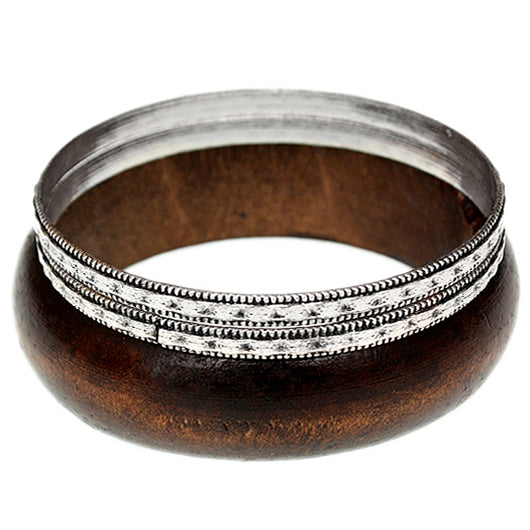 Dark Brown Wooden Stacked Bangle Bracelets
