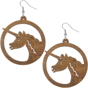 Brown Wooden Large Unicorn Hoop Earrings