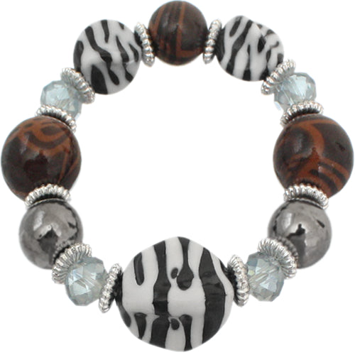 Brown Zebra Striped Beaded Stretch Bracelet