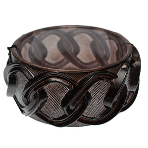 Brown Chain Link Texture Hinged Bracelet