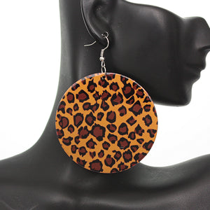 Brown Round Thin Spotted Earrings