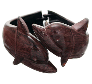 Dark Brown Dolphin Textured Hinged Bracelet
