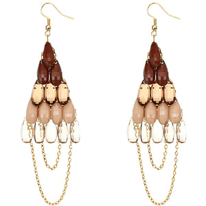 Brown Faceted Drop Chain Chandelier Earrings