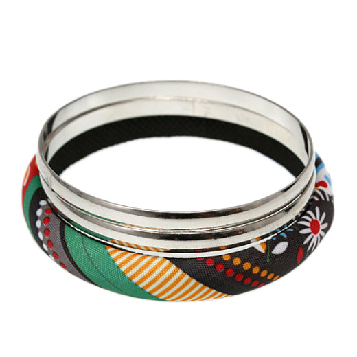 Yellow Multicolor Fabric Wrapped Bangle Bracelet Set