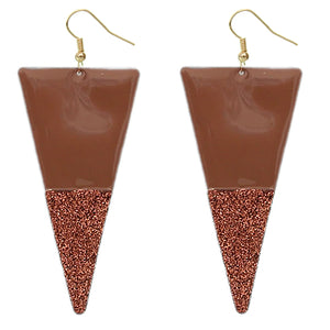 Brown Glitter Inverted Triangle Earrings