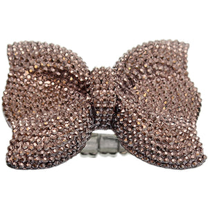 Brown Large Sparkle Bow Stretch Ring