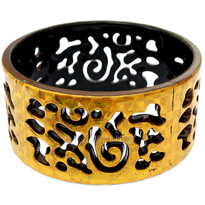 Brown Gold Cutout Chinese Textured Bangle Bracelet