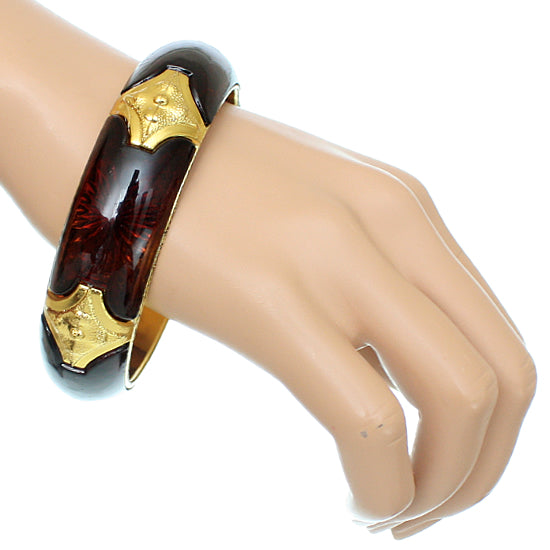 Brown Glossy Sunburst Bangle Bracelet