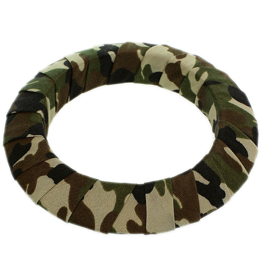 Green Army Camouflage Saucer Bangle Bracelet