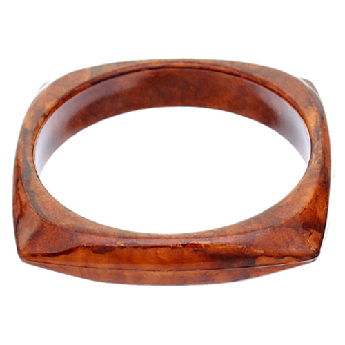 Brown Glossy Faux Marble Bangle Bracelet