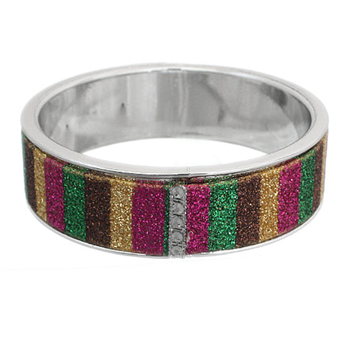 Brown Multicolor Glitter Bangle Bracelet