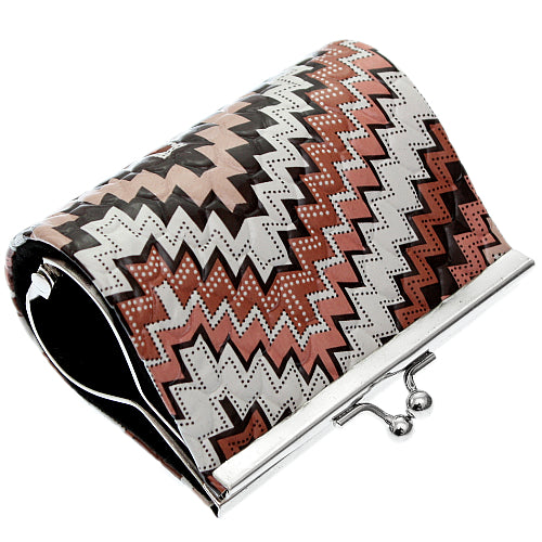 Brown Faux Leather Chevron Kisslock Coin Purse