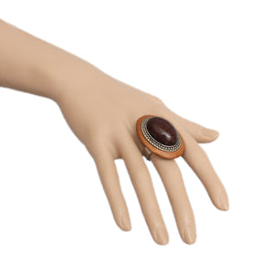 Brown Wooden Crackle Oversized Adjustable Ring