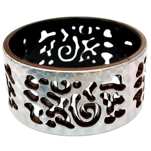 Brown Silver Cutout Chinese Textured Bangle Bracelet