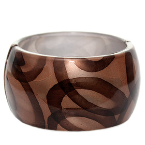 Brown Glossy Art Deco Hinged Bracelet