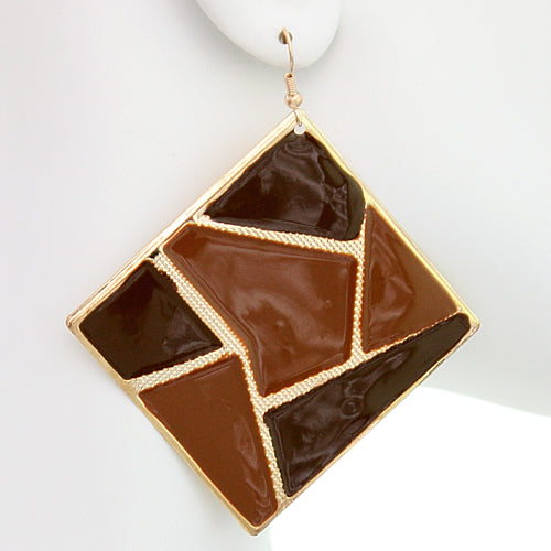Brown Triangular Multi-Shaped Dangle Earrings