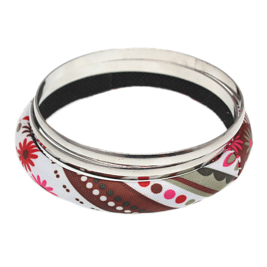 Brown Multicolor Fabric Wrapped Bangle Bracelet Set