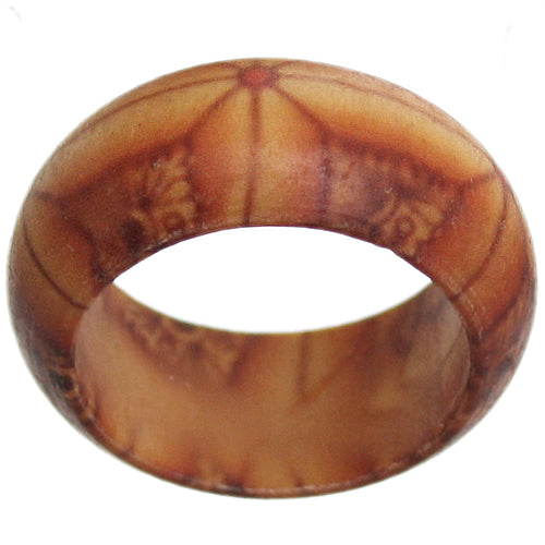Brown Wooden Bohemian Lined Tiled Ring