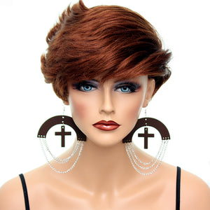 Brown Wooden Chain Link Cross Earrings