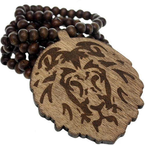 Brown Wooden Lion Head Beaded Necklace