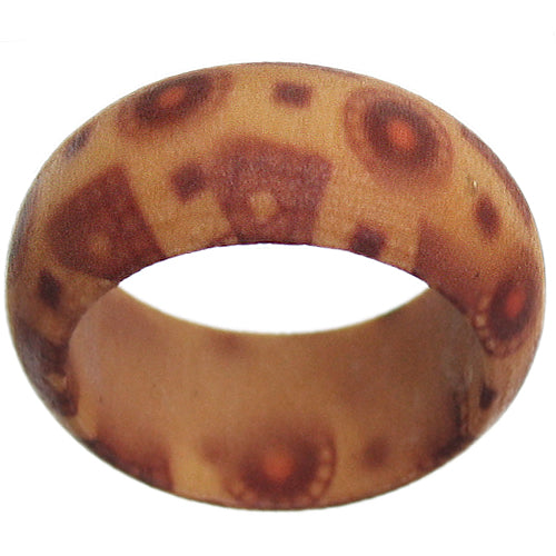 Brown Wooden Bohemian Tiled Ring