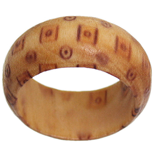 Brown Wooden Bohemian Spotted Ring
