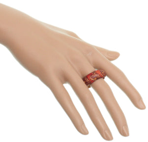 Red Wooden Floral Swirl Bohemian Ring