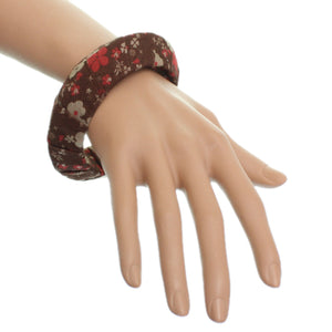 Brown Floral Fabric Saucer Bangle Bracelet
