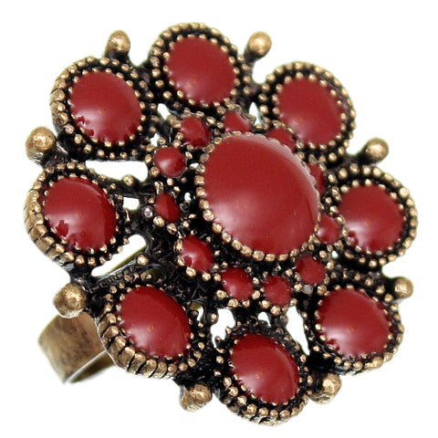 Red Antique Circular Floral Topper Adjustable Ring