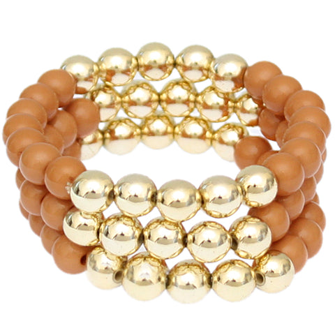 Brown Beaded Round Ball Stretch Bracelets