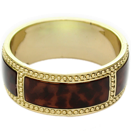 Dark Brown Beaded Outline Bangle Bracelet