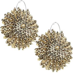 Brown Oversized Large Beaded Cheetah Hoop Earrings