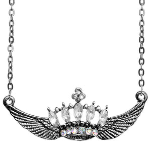 Clear Crown Double Wing Chain Necklace