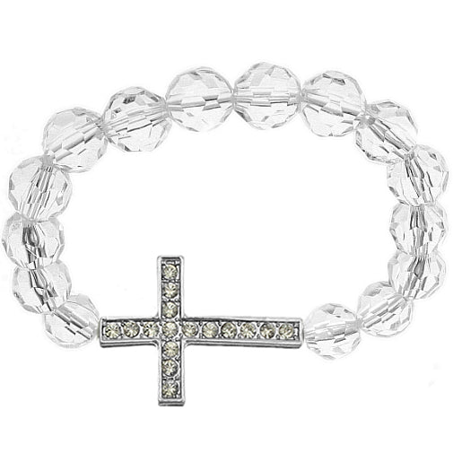 Clear Faceted Gemstone Cross Stretch Bracelet