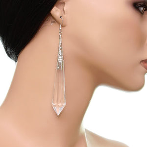 Clear Faux Crystal Pointy Earrings