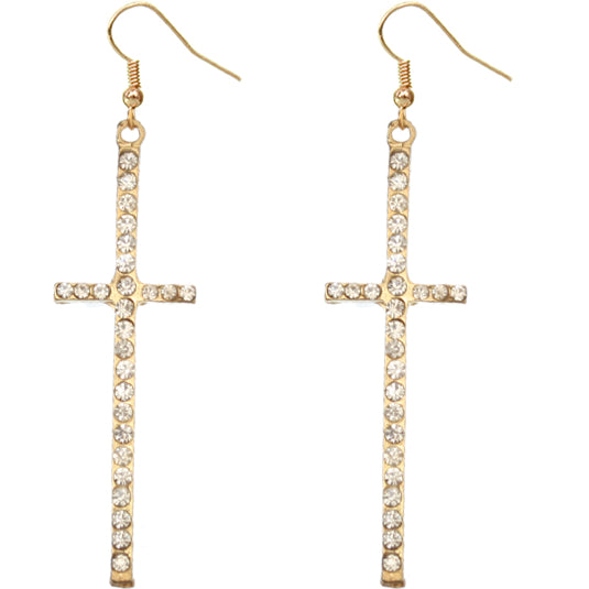 Clear Cross Earrings