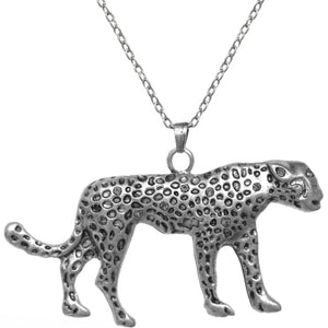 Silver Spotted Cheetah Charm Necklace