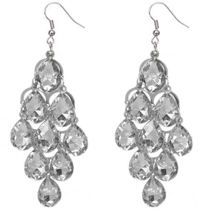 Clear Faceted Teardrop Chandelier Earrings