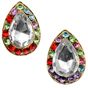 Clear Multicolor Teardrop Gemstone Post Earrings