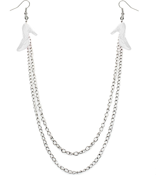 Clear Double Chain High Heel Necklace Earrings