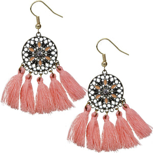 Coral Tassel Fringe Drop Earrings