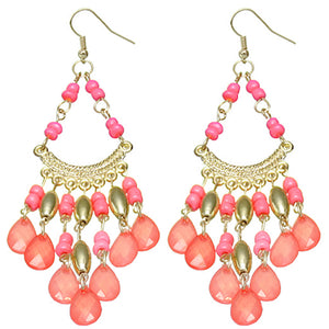Coral spanish style dangle earrings